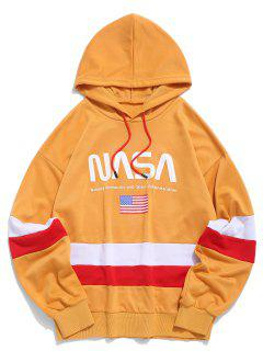 ZAFUL American Flag Color Blocking Letter Print Hoodie - Golden Brown L