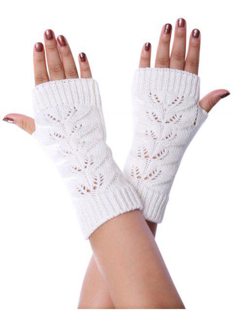 latest Hollow Braid Fingerless Knitted Gloves - WHITE  Mobile