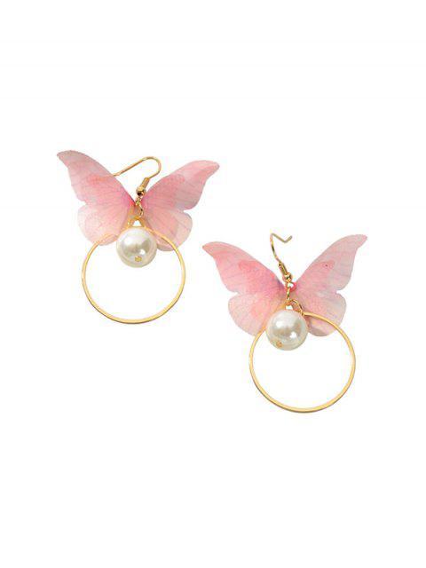 Искусственный жемчуг Бабочка Круг Серьги - Светло-розовый  Mobile