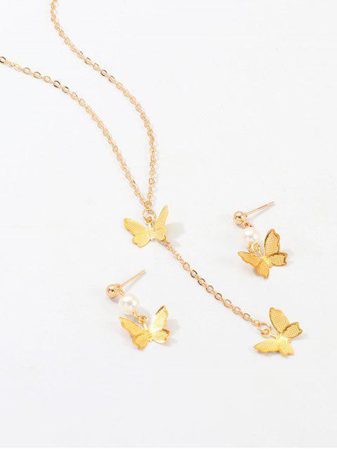 Ensemble de Boucles d'Oreilles et de Collier Papillon Pendant - Or  Mobile