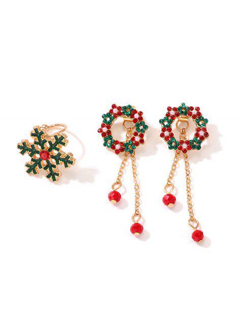 Ensemble de Boucles d'Oreilles Cercle Fleuries de Noël et de Bague Flocon de Neige - Or  Mobile