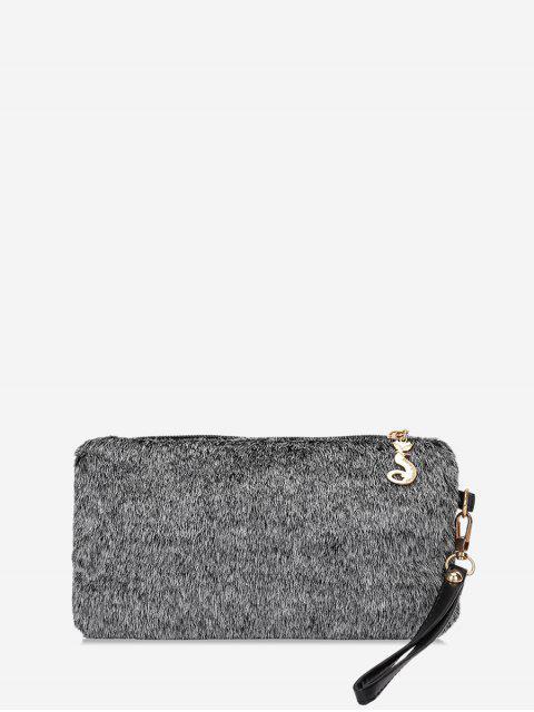 Sac Pochette Simple en Fausse Fourrure - Cendre gris  Mobile