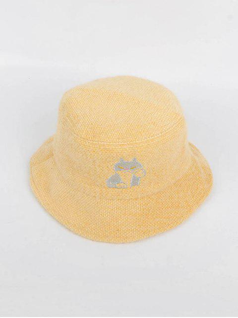 ladies Cat Pattern Winter Woolen Bucket Hat - YELLOW  Mobile