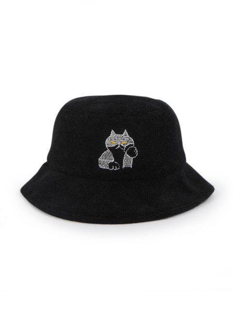 Принт кошки Зимняя Шляпа-ведро Шерсть - Чёрный  Mobile