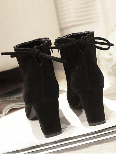 hot Solid Color Bowknot Design Casual Boots - BLACK EU 37 Mobile