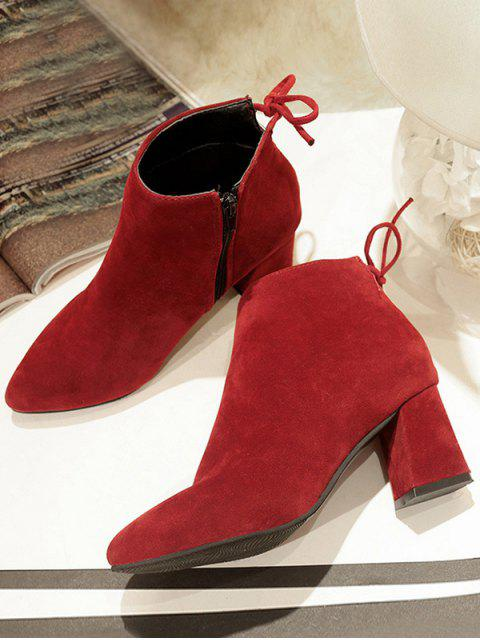 latest Solid Color Bowknot Design Casual Boots - RED WINE EU 38 Mobile