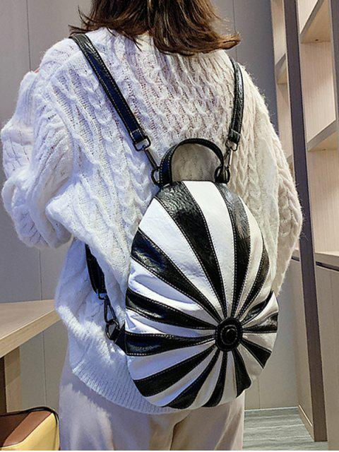 chic Striped Jointed Leather Backpack - BLACK  Mobile