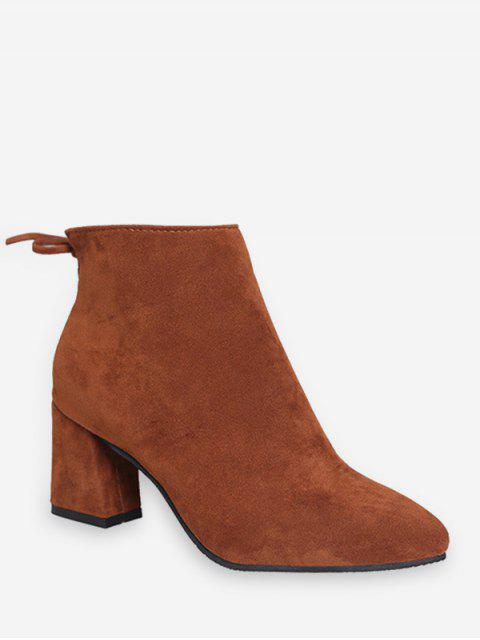 lady Solid Color Bowknot Design Casual Boots - RUST EU 38 Mobile