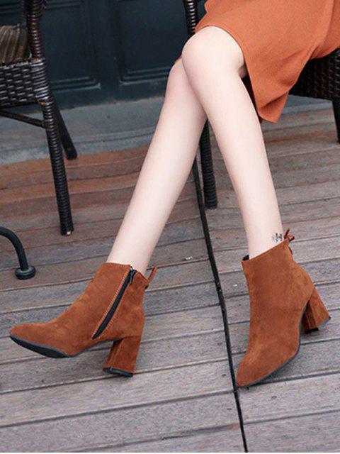 new Solid Color Bowknot Design Casual Boots - RUST EU 37 Mobile