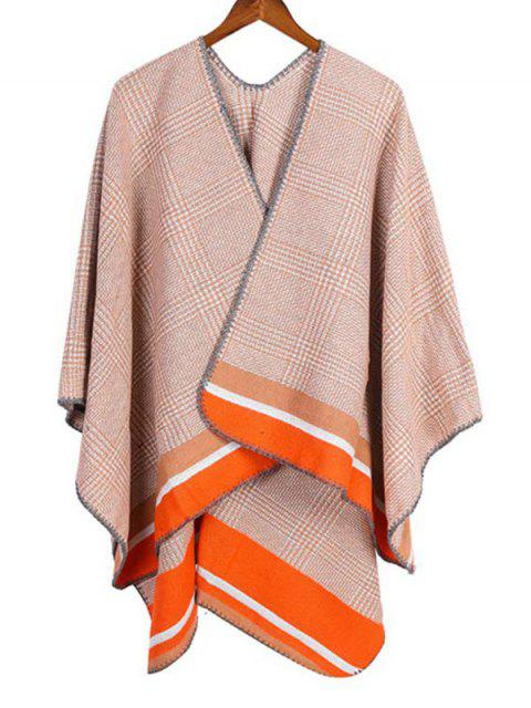 outfit Plaid Houndstooth Striped Split Shawl - CORN YELLOW REGULAR Mobile
