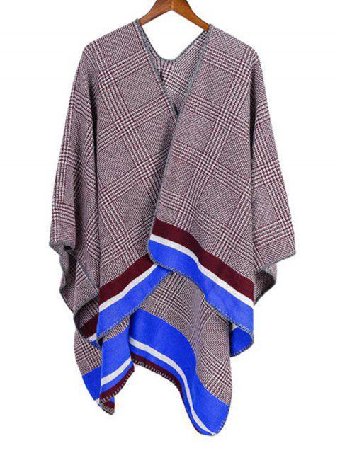 shop Plaid Houndstooth Striped Split Shawl - BLUEBERRY BLUE REGULAR Mobile