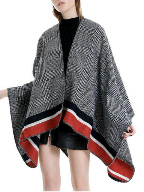 women Plaid Houndstooth Striped Split Shawl - CHESTNUT RED REGULAR Mobile