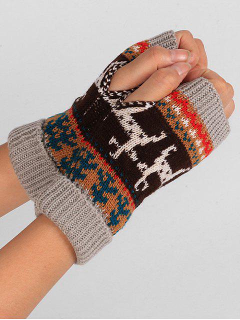 Рождественский принт оленя Без пальцев Вязаные Перчатки - Серый  Mobile