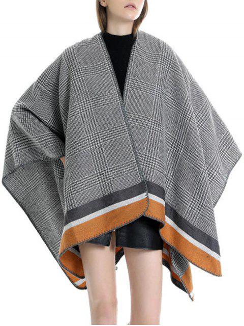 outfits Plaid Houndstooth Striped Split Shawl - TIGER ORANGE REGULAR Mobile