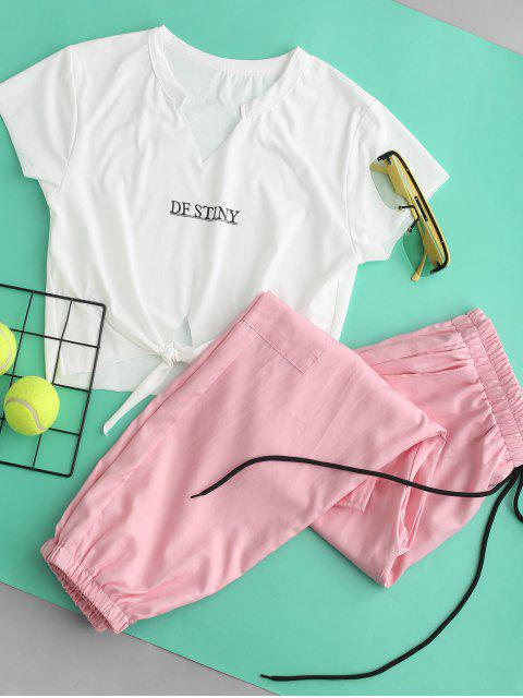 women Letter Crop Tee and Jogger Pants Set - PINK S Mobile
