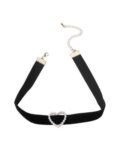 Collier Ras-du-cou Cœur en Fausse Perle - Noir  Mobile