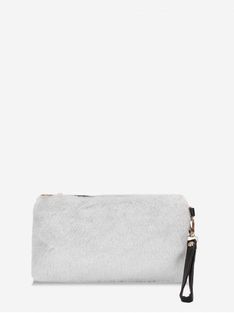 Sac Pochette Simple en Fausse Fourrure - Blanc Lait  Mobile