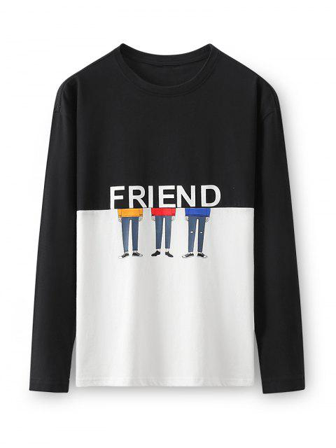 Dos tonos de caracteres amigo de dibujos animados de manga larga camiseta - Negro L Mobile