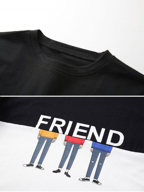 Dos tonos de caracteres amigo de dibujos animados de manga larga camiseta - Negro XL Mobile