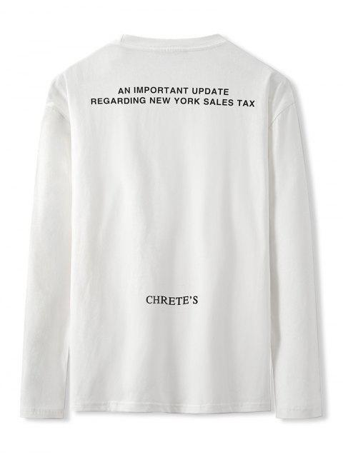 online Letter Graphic Print Long Sleeve Basic T-shirt - WHITE XL Mobile