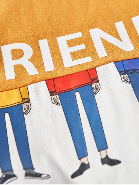 雙色朋友卡通人物長袖T卹 - 橡膠Ducky黃色 2XL Mobile