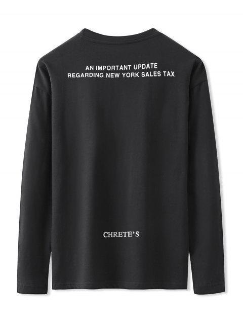 shops Letter Graphic Print Long Sleeve Basic T-shirt - BLACK XL Mobile