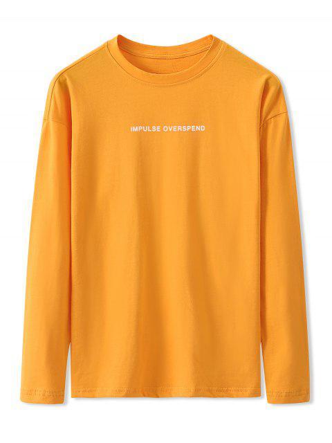 Carta Gráfica de manga larga Camiseta básica - Amarillo Brillante 3XL Mobile