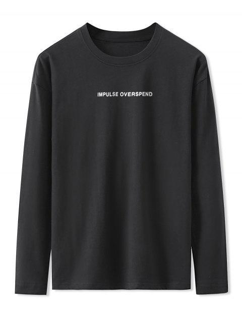 Carta Gráfica de manga larga Camiseta básica - Negro M Mobile