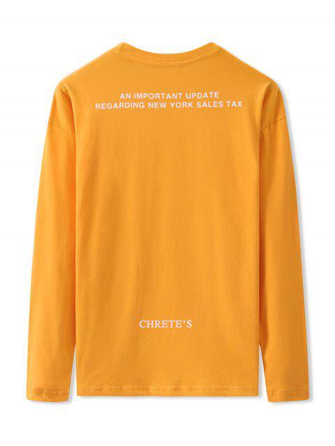 Carta Gráfica de manga larga Camiseta básica - Amarillo Brillante M Mobile
