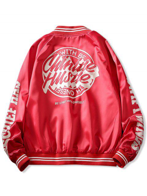 outfit Letter Graphic Print Raglan Sleeve Baseball Jacket - LAVA RED 3XL Mobile