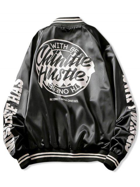 lady Letter Graphic Print Raglan Sleeve Baseball Jacket - BLACK XL Mobile