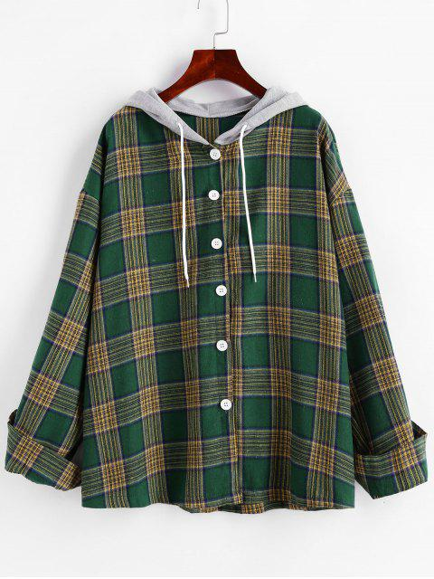 women's Hooded Button Down Contrast Plaid Top - DEEP GREEN ONE SIZE Mobile