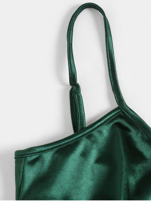 ZAFUL Robe Enveloppée Moulante en Satin - Vert profond L Mobile