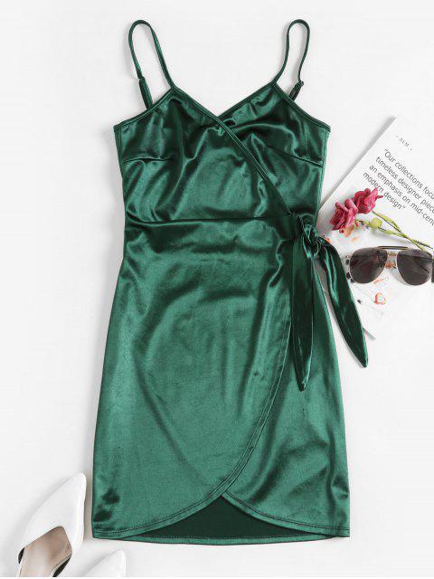 ZAFUL Robe Enveloppée Moulante en Satin - Vert profond S Mobile