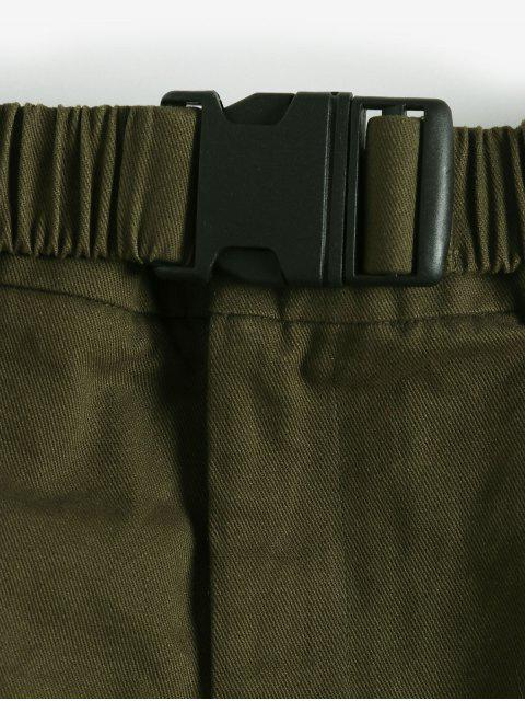 affordable ZAFUL Buckle Belted Pocket A Line Skirt - ARMY GREEN M Mobile