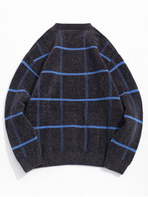 Karierter Pullover mit Rundhalsausschnitt und Grafik - Grau XS Mobile