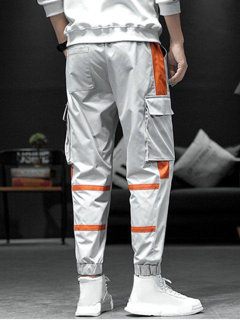 new Contrast Spliced Drawstring Cargo Jogger Pants - GRAY 2XL Mobile