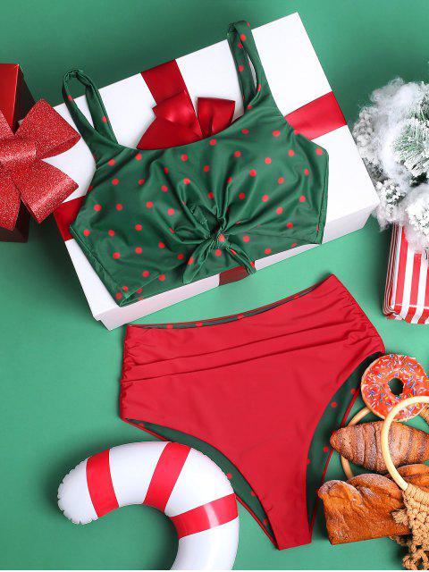 ZAFUL lunares anudada con pliegues del traje de baño de Navidad - Mar Verde Mediana XL Mobile