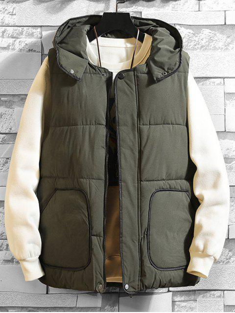 unique Contrast Trim Hooded Quilted Waistcoat - GREEN S Mobile