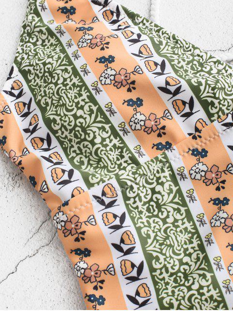ZAFUL Богемный стиль Перекрестные шнуровки Плетеный Слитный Купальник - Многоцветный-A XL Mobile