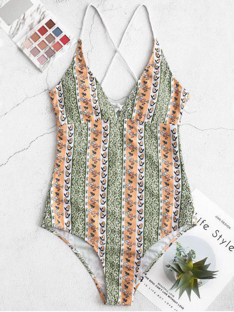 womens ZAFUL Bohemian Braided Crisscross One-piece Swimsuit - MULTI-A S Mobile