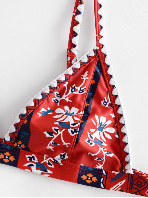 shops ZAFUL Bohemian Flower Whip Stitch String Bikini Swimsuit - MULTI-A S Mobile