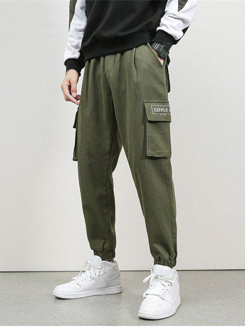 chic Letter Embroidery Flap Pocket Cargo Jogger Pants - ARMY GREEN XS Mobile