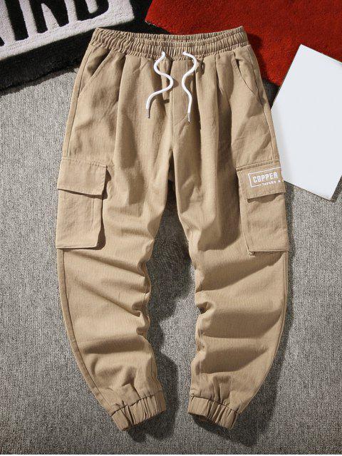 Jogger Pantalones de Cargo de Bordado de Letras y Bolsillo - Caqui S Mobile