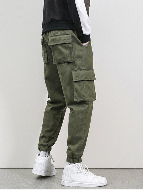 womens Letter Embroidery Flap Pocket Cargo Jogger Pants - ARMY GREEN M Mobile