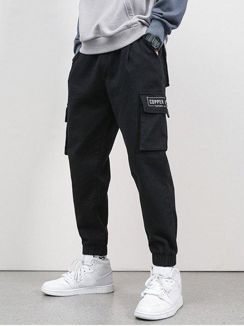 Jogger Pantalones de Cargo de Bordado de Letras y Bolsillo - Negro S Mobile