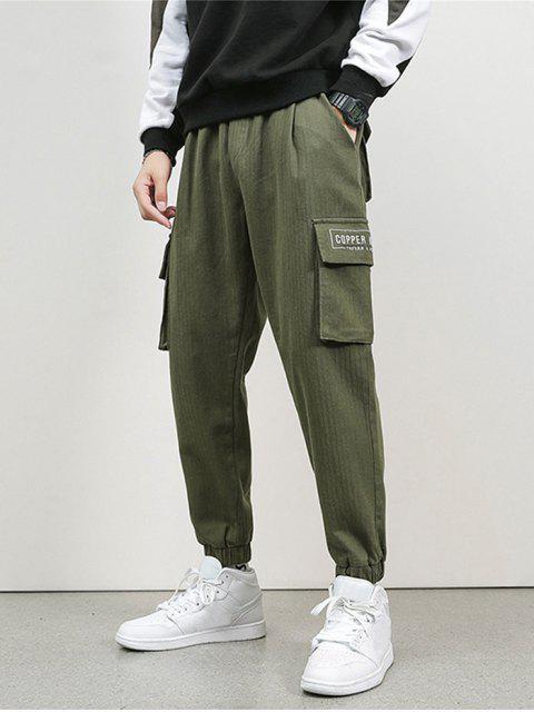 Jogger Pantalones de Cargo de Bordado de Letras y Bolsillo - Ejercito Verde L Mobile