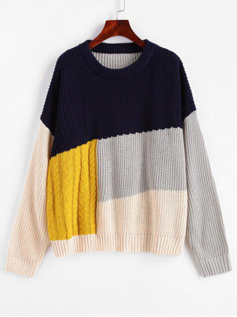 womens Crew Neck Drop Shoulder Colorblock Sweater - MULTI-A L Mobile