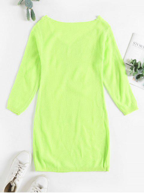 Vestido del suéter ajustado de rasgado V Neck - Verde M Mobile