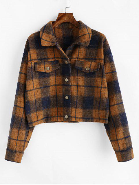 Hombro del botón ZAFUL tela escocesa gota encima de la camisa de la chaqueta - Marrón L Mobile